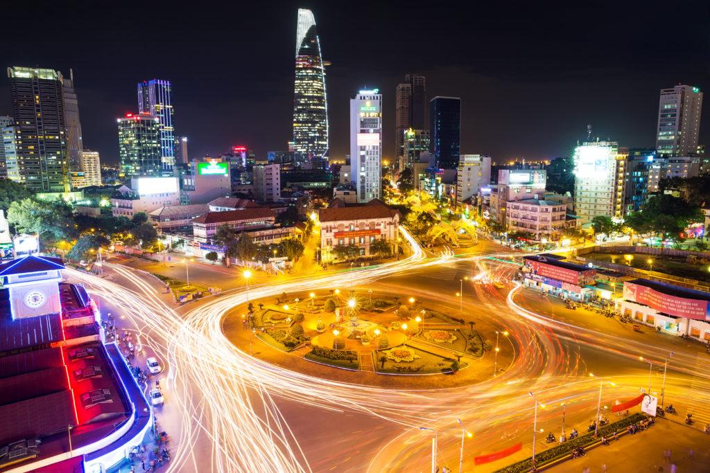 Ho Chi Minh city in evening. Vietnam.